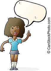 cartoon tough woman with idea with speech bubble
