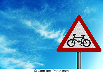 Photo realistic \'cycle route\' sign, against a bright blue sky, w