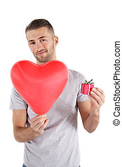 Valentines Day - A smarting man handovers a big red heart...