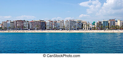Panoramic cityscape of Lloret de Mar from sea, Costa Brava,...