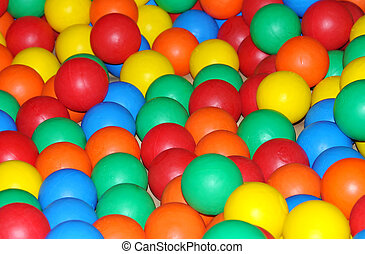 coloured plastic balls - Plastic coloured balls, in a...