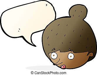 cartoon surprised woman's face with speech bubble