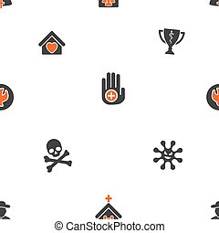 Christian Love and Danger Seamless Flat Vector Pattern -...