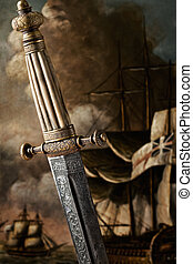 Dagger and sailing ship art - A closeup view of the handle...