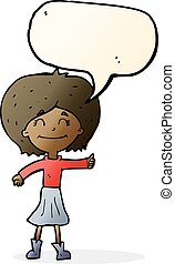 cartoon happy girl giving thumbs up symbol with speech bubble
