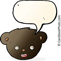 cartoon black bear face with speech bubble
