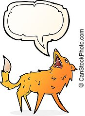 cartoon snapping fox with speech bubble