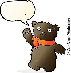 cartoon teddy bear wearing scarf with speech bubble