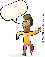 cartoon worried man pointing with speech bubble