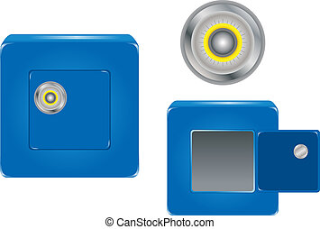 Safe with Combination Lock - Open and closed Blue Safe with...