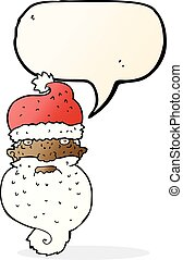 cartoon grim santa face with speech bubble