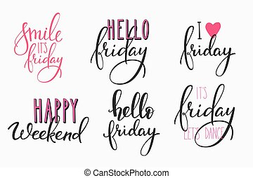 Hello Friday lettering postcard set - Hello Friday lettering...