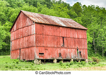 Rural Red Ohio Barn HF - A beautiful rustic red barn is...