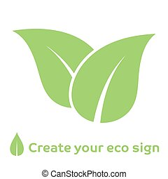 Vector illustration of ecology concept icon with green leaves