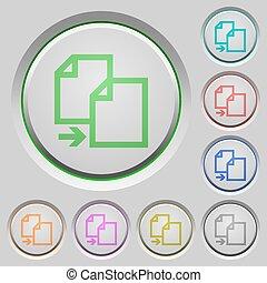 Copy push buttons - Set of color copy sunk push buttons.