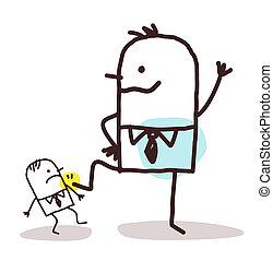 caricatura, grande, hombre de negocios, Empujar, Abajo, Un,...
