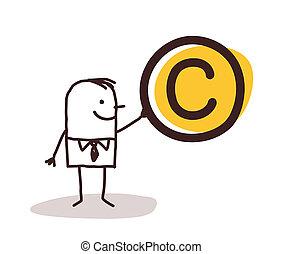 uomo, presa a terra, à, copyright, Simbolo,