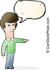 cartoon man blaming with speech bubble