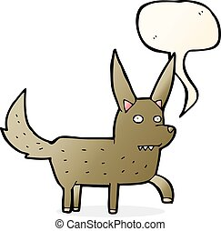 cartoon wild dog with speech bubble