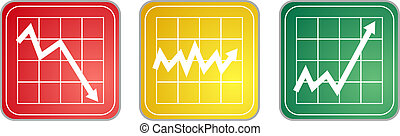 Chart Icons - Three different icons symbolizing various...