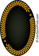 Oval frame made of golden leaves on dark background. AI 8...