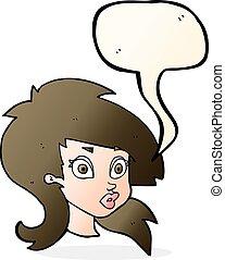 cartoon pretty surprised woman with speech bubble