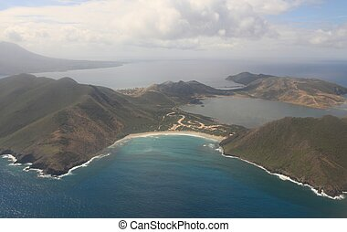Aerial view of St Kitts and Nevis in the Caribbean Sea -...