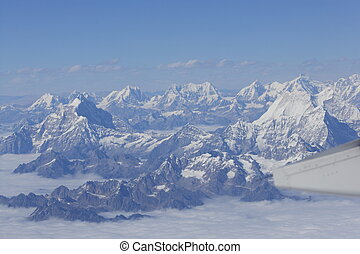 Aerial view of Tibetan Himalayan mountains.