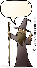 cartoon spooky wizard with speech bubble