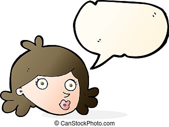 cartoon pretty face with speech bubble