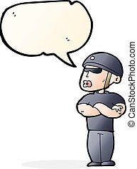 cartoon security guard with speech bubble