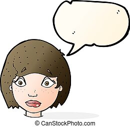 cartoon worried female face with speech bubble