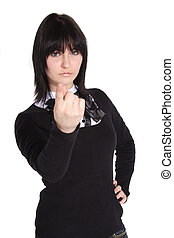 Angry Young Woman - A handsome young woman making a...