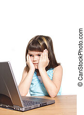 Computer Crash - A young girl sitting in front of a broken...