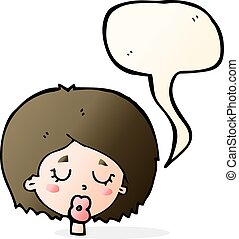 cartoon woman with eyes closed with speech bubble