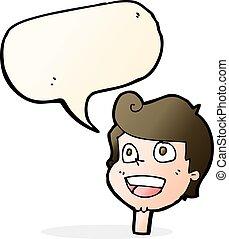 cartoon happy face with speech bubble