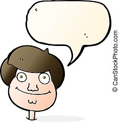 cartoon happy boys face with speech bubble