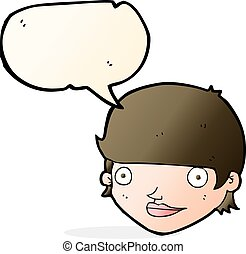 cartoon happy female face with speech bubble