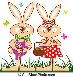 Funny rabbits with basket of easter eggs - Easter bunny...