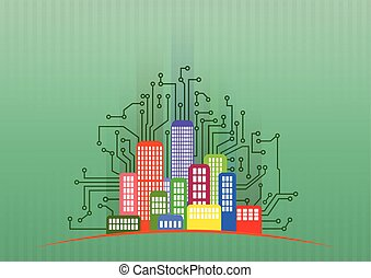 tech city - illustration of colorful urban city with...