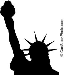 Statue Of Liberty - Silhouette of the statue of liberty...