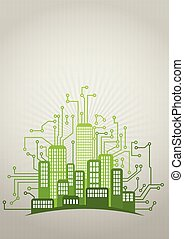 urban green - illustration of green urban city with...