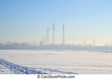 Frozen River Neva - Frozen River Neva at sunny winter day,...