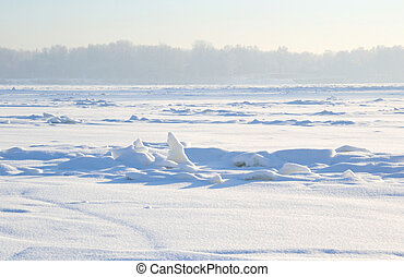 Frozen River Neva - Frozen River Neva at sunny winter day,...