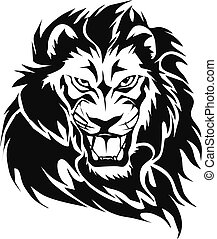 lion head - graphic design of animals, a lion head with...