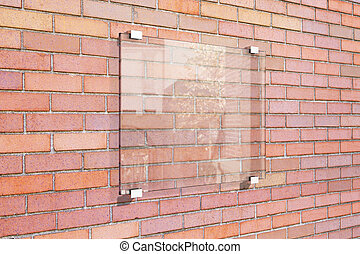 Transparent signboard on red brick wall, mock up