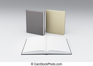 Blank white pages of opened book in front two others, mock...