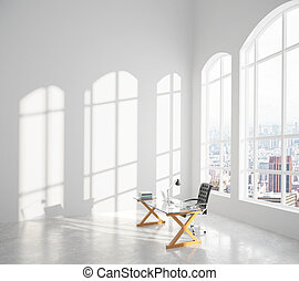 Big modern sunny room with glassy table, chair and big...