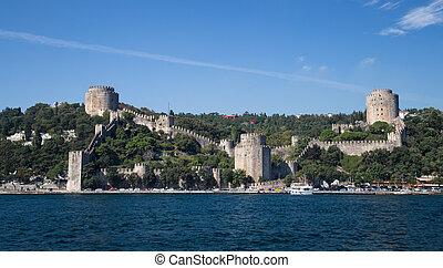 Rumelian Castle in Bosphorus Strait Coast of Istanbul City,...