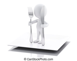 3d white people Chef with fork and knife.